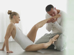 Flexible ballerina riding & rubbing her instructor's cock