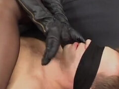 Mistress femdom foot slave sucking leather gloves