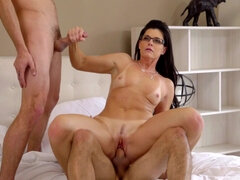 Dark haired mature with glasses gets fucked hard by her stepsons