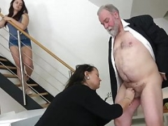 Aged Vitiated Citizen Gets down and furthermore dirty Stepdaughter and furthermore Wife - CFNM