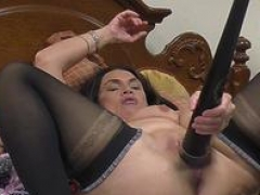 Dirty Mom i`d like to fuck fucks her pussy with baseball bat