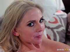 Baldhead Boss Sprinkles His Load Over Pretty Housewife's Face
