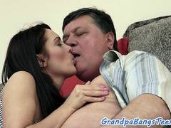 Big-breasted eurobabe rides oldman