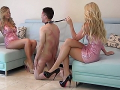 Blonde high heeled Dames Ballbusting youthful Boy