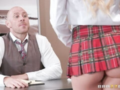 All-natural blonde in red panties Aspen Rose screwed by her boss