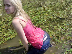 Wetlook Russian blonde Girl jeans in sea