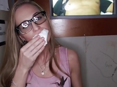True gloryhole spex babe takes cum in mouth