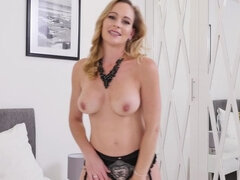 British hot MILF Elegant Eve fingering herself