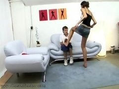 Youthful Guy Gets His First Trample Experience By Tall Amazon