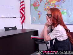 Nerdy crimson Head step-sister ravages Step Brother in Class Room!