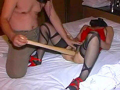 extraordinary slave fiercely plowed with a huge baseball bat