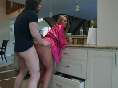 Blonde With Big Tits Gets Fucked By Boyfriend In The Kitchen