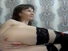 shy sexually available mom fisting sex herself on online camera clip
