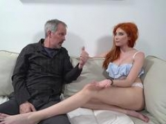 Russian redhead gets down and dirty an old man