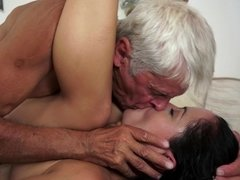 Granddad that is really horny is fucking a tight little bitch