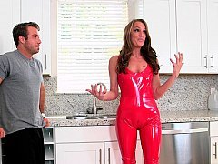 Mind-blowing mom in a latex suit