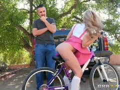 Naughy Teen Loves To Feel Big Dildo Riding Her Bike