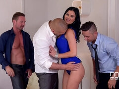 Hot brunette gets pleased by three dudes