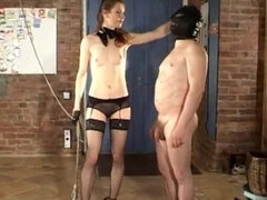 Goddess riding leather masked pony & riding crop spanking it