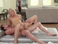 Young blonde Elsa Jean sucks a dick and fucks her friend's brother
