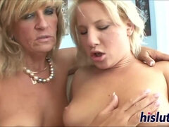 Raunchy luscious blonde MILF fucks and pleasures younger gal