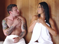 Naughty brunette sucked dick in the sauna