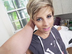 Blonde is getting cum in her pretty face straight in front of the camera