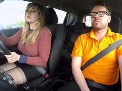 Fake Driving School 34F Jugs Bouncing in driving lesson