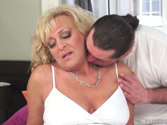 Blonde Grandma Gets A Cockload
