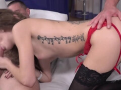 Lascivious men turned small-butted girlfriend on and fucked her