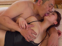 Shy Japanese Married Woman In Old and Young Hardcore Threesome with Cumshot