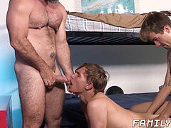 fur covered hunk having bareback 3 way with stepsons