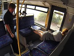 Sleepy broad woken and fucked hard in the bus