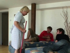 Cleaning granny gets her twat filled with 2 flag poles