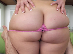 Big ass babe removes her panties from her sizable booty