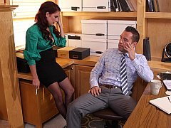 Lonely boss spends time with aroused secretary